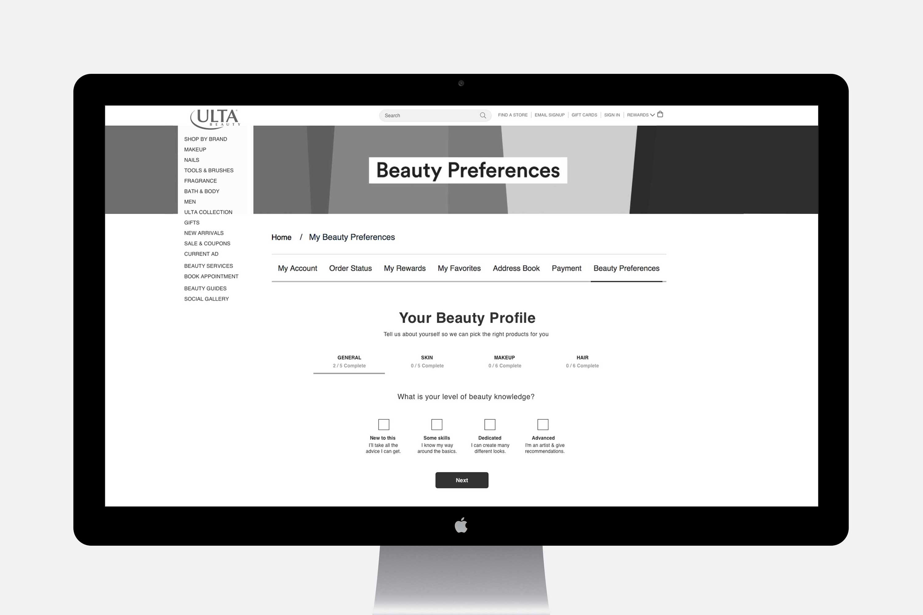 ulta beauty preferences quiz desktop