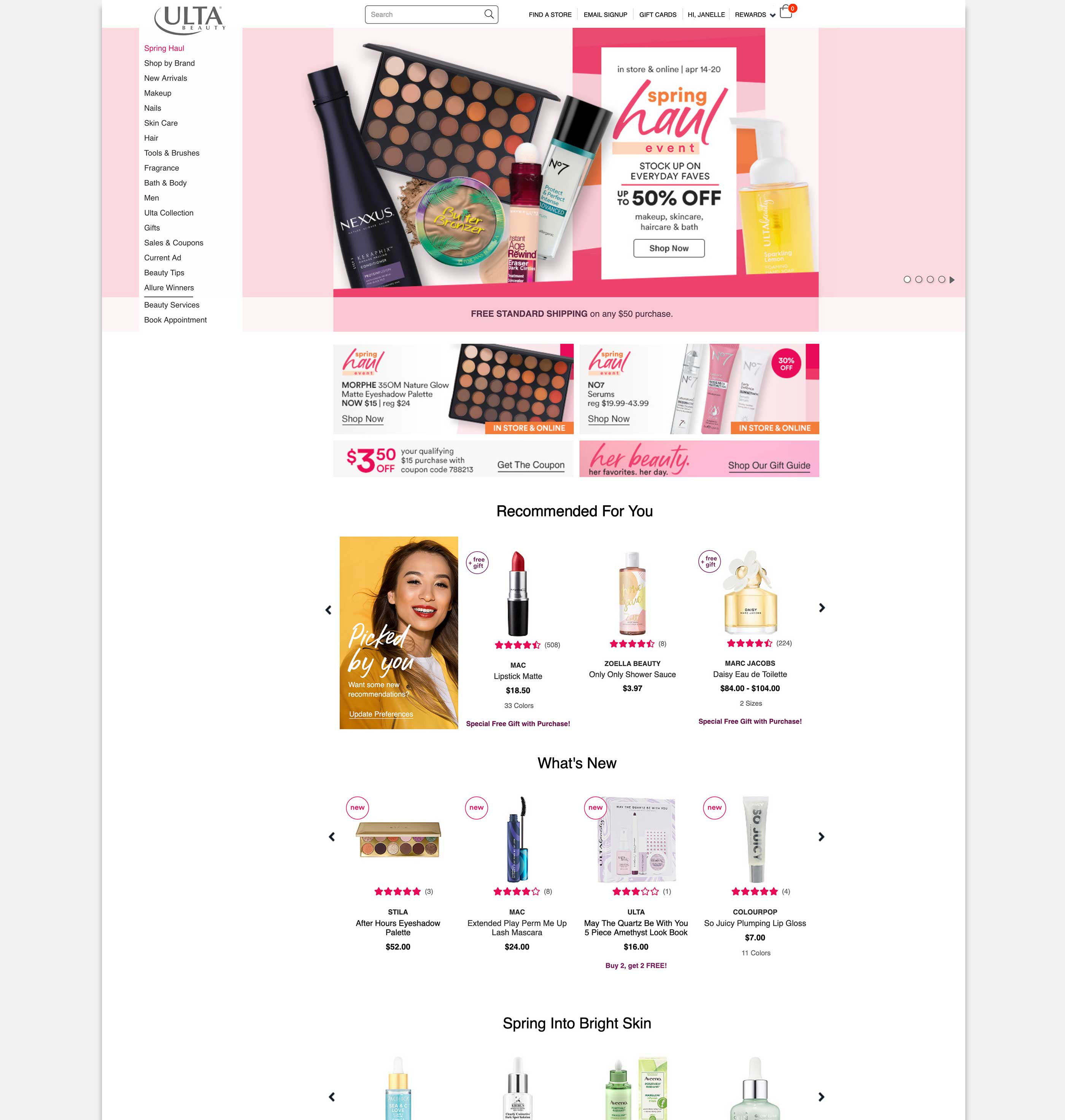 Ulta final recommendations homepage update