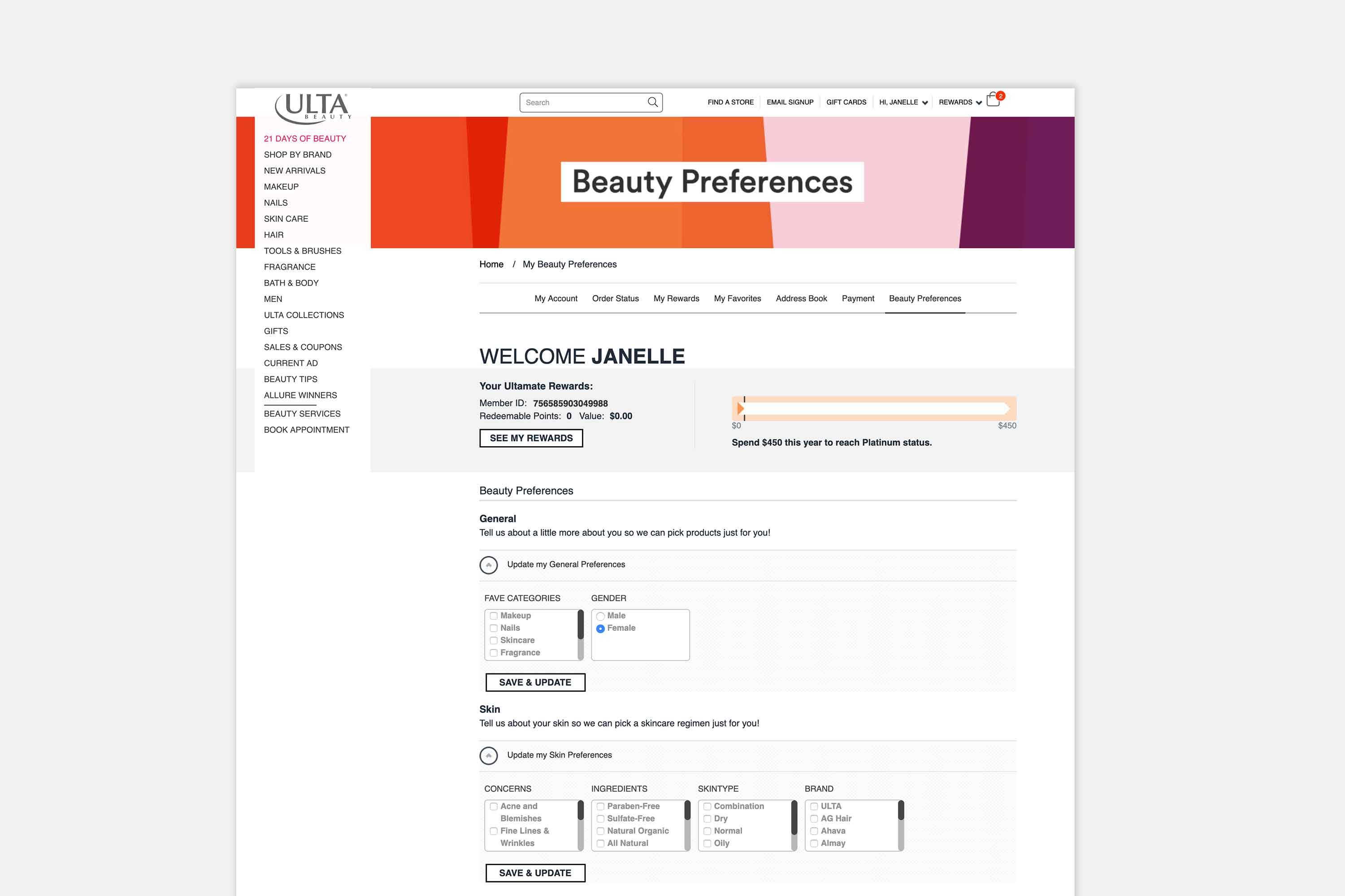 Ulta existing page design